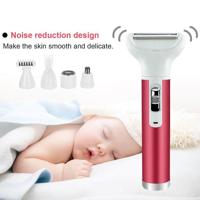 Lady Shaver 220V-240V 5 in 1 Painless Women Face Eyebrow Hair Remover Skin-friendly Trimmer Epilator Wet and Dry Use EU Plug 2