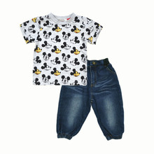 2016 New Boys Clothing Set t shirt + pants 2pcs Cartoon Cute Mouse Kids Baby Children's clothes Denim jeans Summer free shipping