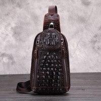 Baoersen New Arrival Mens Messenger Bags Famous Brand Crocodile Grain Genuine Leather Chest Bag Men Shoulder