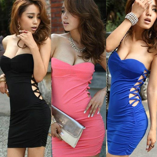 Cheap Products Women Sexy Side Open And Low-Cut Design Srapless Mini Tube Dress Hot Products wholesale SY009