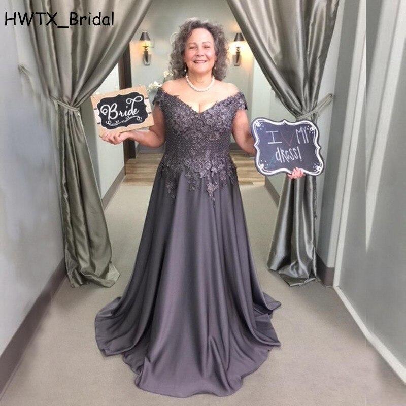 2018 серый атласный платье для мамы с плеча линия кружевной топ пол Длина Длинные мать невесты платья для выпускного вечерние Платье