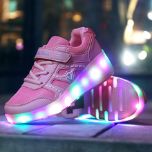 LED Flashing single Wheels Roller Skate Shoes for girls Flash Roller Skating Shoes Colorful Glowing Roller boy Skates Sneakers