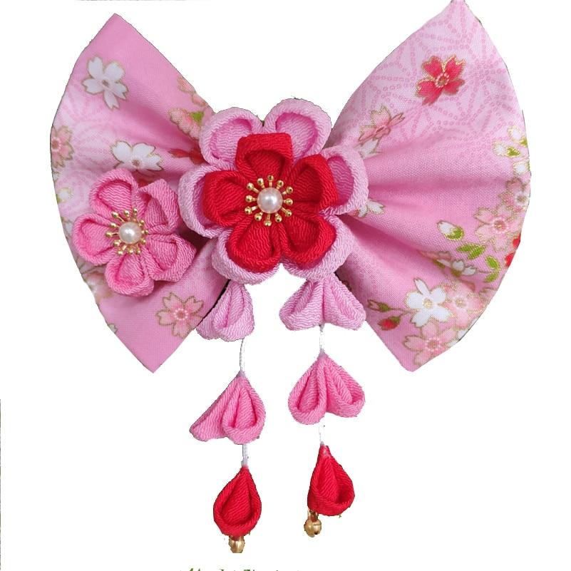 Grampos de Cabelo Quimono do Vintage Kanzashi Estilo Japonês Pano Dourado Bowtie Borlas Sakura Flor Glicínias Casamento Headwear Hw009-t