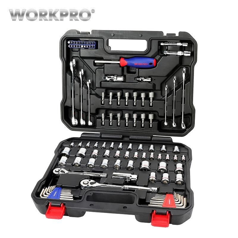 WORKPRO 101 шт. набор инструментов домашние Инструменты для ремонта автомобилей разъемы для инструментов набор гаечные ключи с задерживающими храповиками гаечные ключи