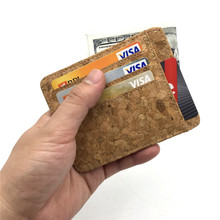 Natural cork men slim wallet handmade card holder men s vegan wallets Original from Portugal Bag
