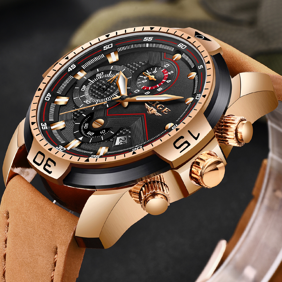 LIGE Mens Watches Top Brand Luxury Military Sport Watch Men Leather Waterproof Wristwatch Analog Quartz Clock Relogio MasculinoLIGE Mens Watches Top Brand Luxury Military Sport Watch Men Leather Waterproof Wristwatch Analog Quartz Clock Relogio Masculino
