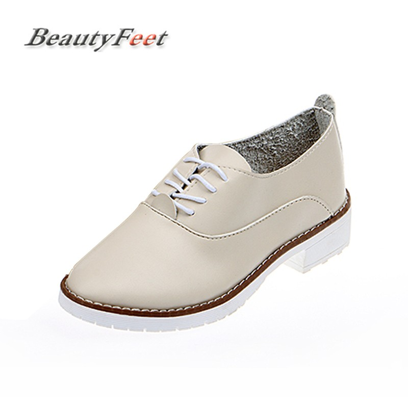 BeautyFeet Women Shoes Woman Flats Lace up Leather Casual Shoes Female Spring Oxford Platform Shoes For Women Sapato Feminino beautyfeet women shoes female genuine leather lace up casual shoes woman flats white shoes candy color breathable ladies shoes