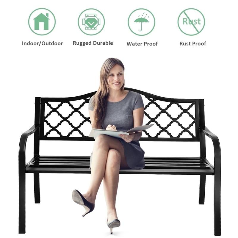 "Sturdy Metal Cast Iron 50"" Patio Garden Bench Loveseats Armrest Comfortable To Seat Modern Outdoor Garden Chairs OP3136"