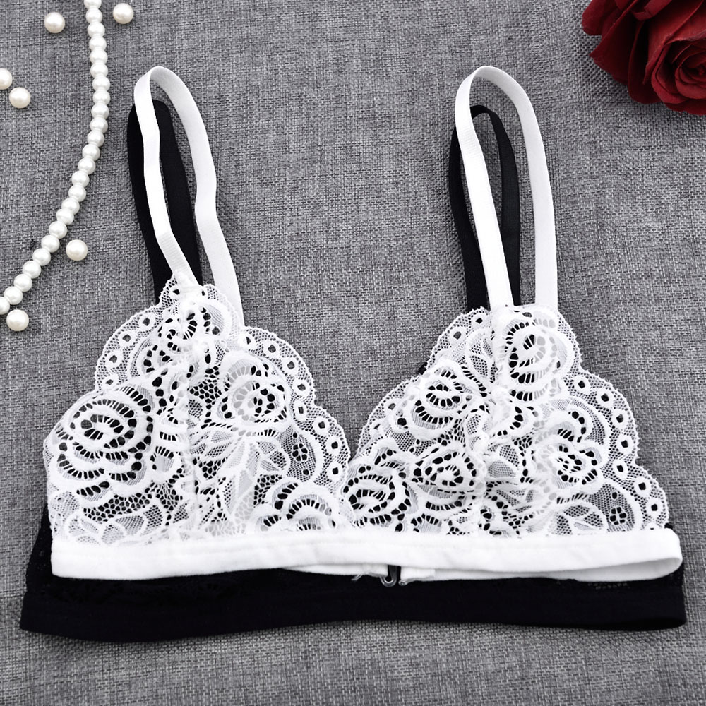 Sexy Woman Bra Floral Lace Bra Wire Free Bralette Lingerie Female Seamless Unpadded Transparent Brassiere Intimates 1PC