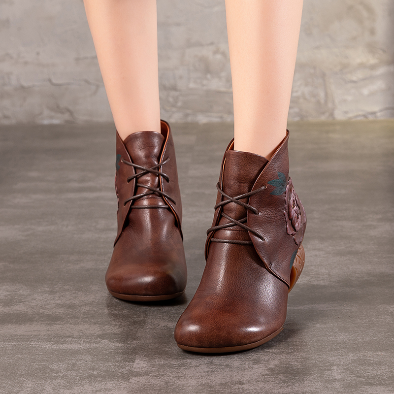 2018 VALLU Handmade Vintage Shoes Ankle Boots for Women Round Toes Lace Up Ankle Boots Print