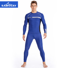 SABOLAY Surfing Clothes Men Water Sports Anti-UV Quick Dry Swimsuit Beach Swimwear Rash Guards Diving Suit Long Sleeve T Shirt