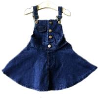 Fashion Spring New Baby Girls Clothes Button Cowboy Kid Straps Baby Girls Dress Children Girls Denim Dress Overalls Kids Clothes