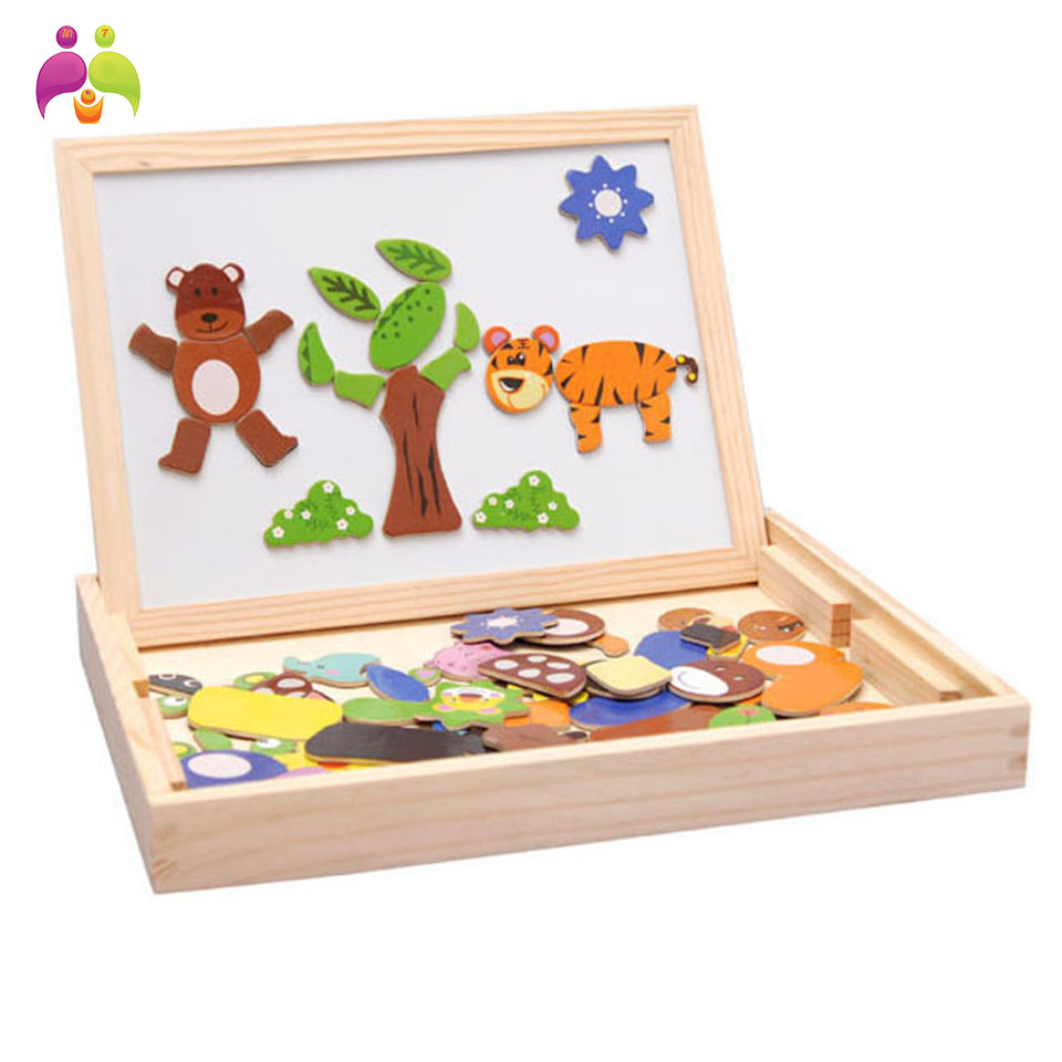 ФОТО Multifunctional educational wooden magnetic puzzle toys for children kids toys wooden toys jigsaw baby's erasable drawing board