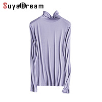 100 Pure REAL SILK Women Base Knitted Long Sleeve T Shirt TURTLENECK Heaps Collar Camisetas Femininas
