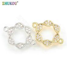 ZHUKOU-breloques en laiton cubique en zircone, connecteurs pour la fabrication de bijoux à bricoler soi-même résultats, trou: 1.5mm, VD323