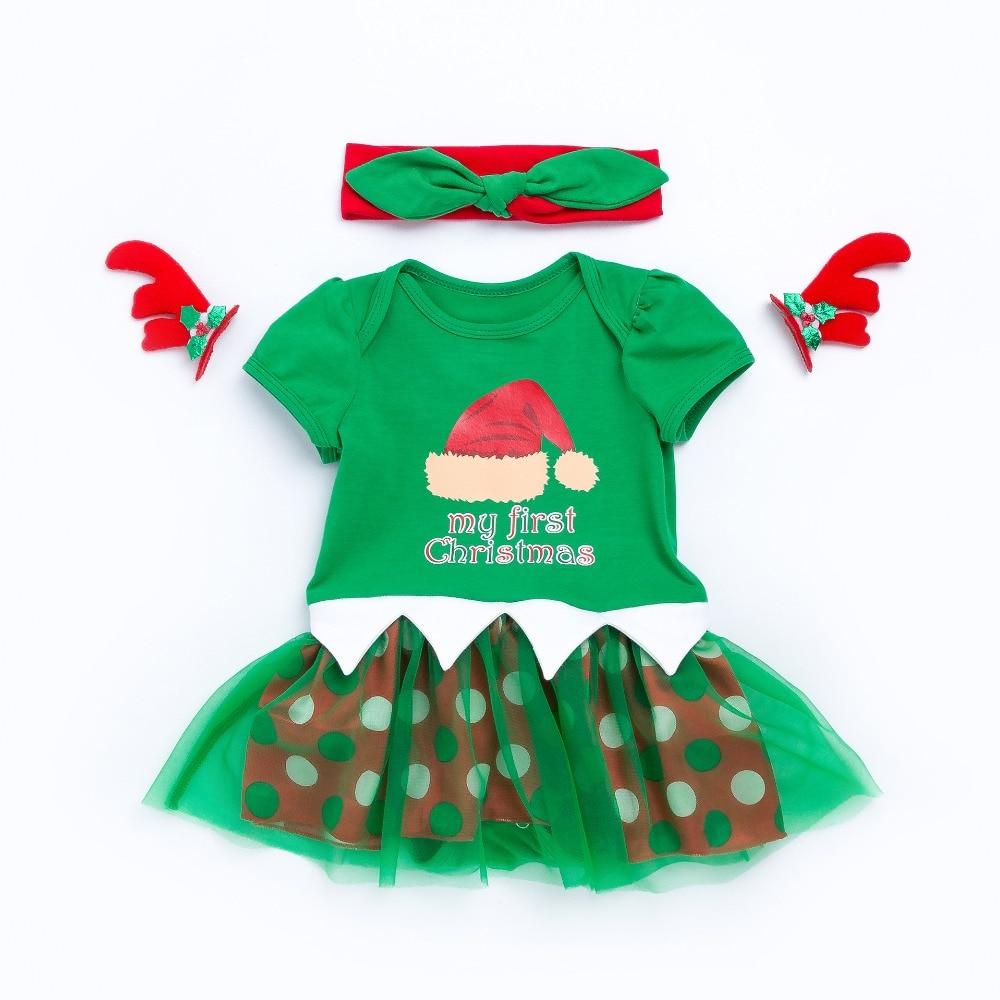 My first Christmas boy girls bodysuits newborn cartoon jumpers children climbing clothes green headwear knee pockets 17N1120