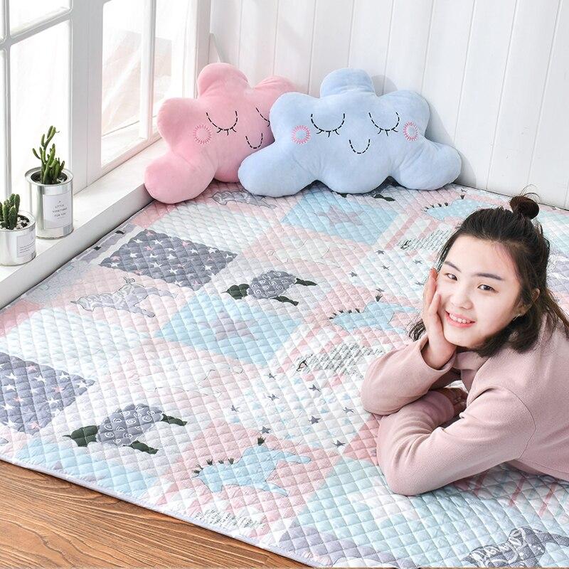 Infant Shining Northern Europe Style Cotton Fabric Carpet TaTaMi Baby Play Ma Crawling Carpet Yoga Mat Non-slip Machine Washable
