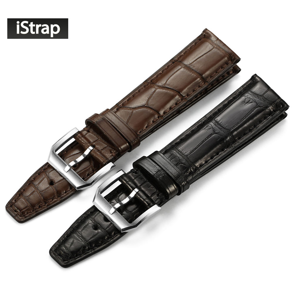 iStrap 20mm 21mm 22mm Black Brown High Quality Watchband Crocodile Leather Watch Strap With Silver Pin Buckle Watch Band For IWC d 32 fashion purple red fish skin leather watch strap 24 22mm watchband with buckle