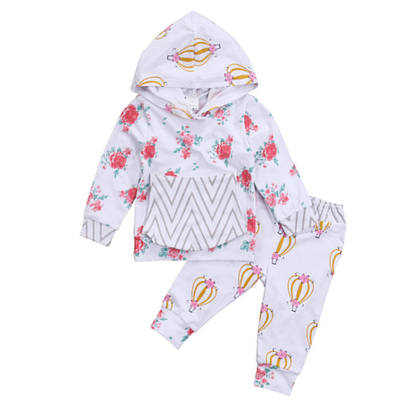 Pudcoco 2pcs Newborn Toddler Baby Boys Girls Clothes Floral Hoodies Sweatshirt Tops+ Legging Pants Outfits Set Clothing 0-24M