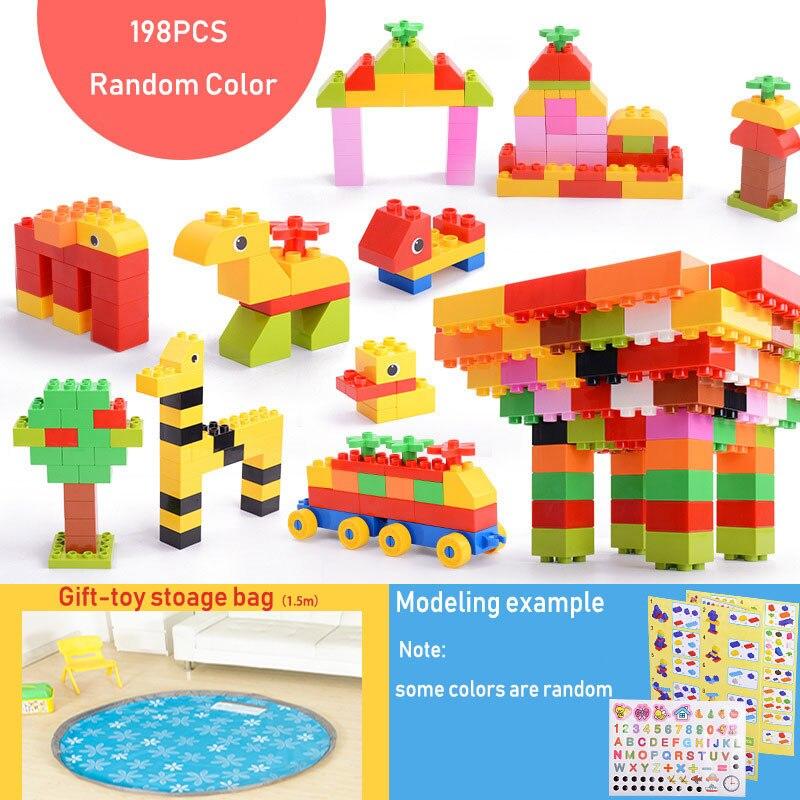 50 ~ 198 pièces Gros Blocs De Construction Cadeau L'instruction Autocollant Coloré En Vrac Briques Avec Figurine Accessoires Compatibles Duploed Jouet