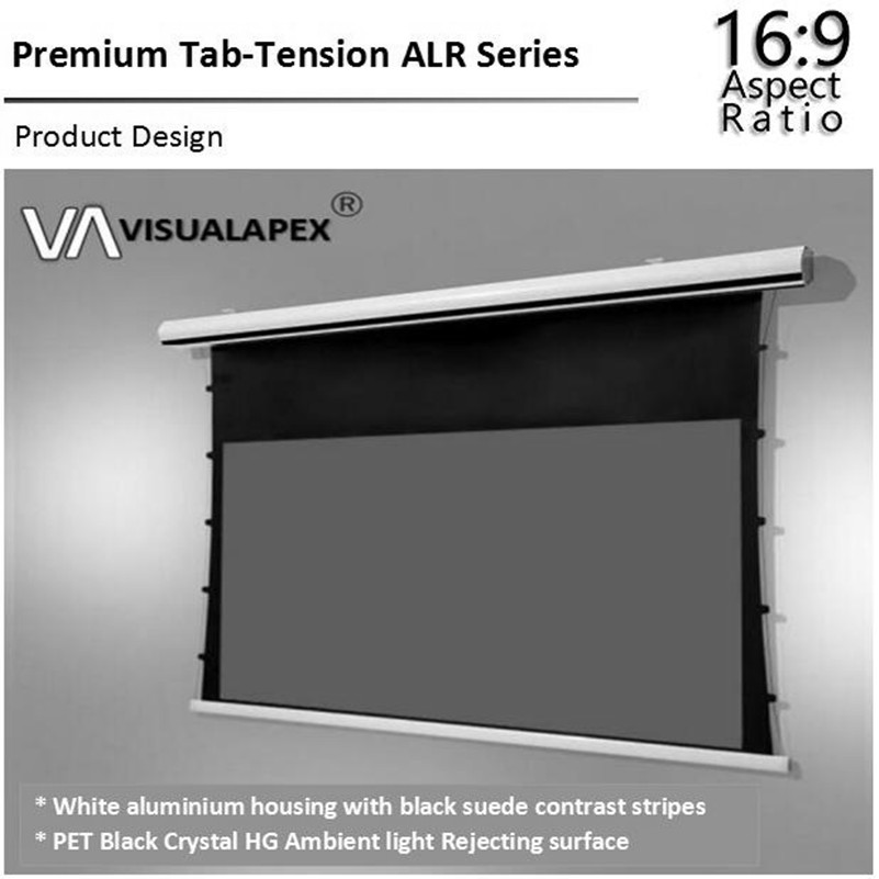 T2HALR Premium Tab Tensioned Eletric Motorised Retractable Projector Screen With ALR Ambient Light Rejecting Material