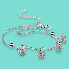 Europa para diseñar un ornamento de plata 925 cadenas de plata para las mujeres de La Corona colgante cadena cigoto ornamentos del pie de plata de La Manera mejor regalo
