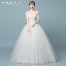 VAMOLASC Sequined V Neck Lace Appliques Ball Gown Wedding Dresses Beading Short Cap Sleeve Backless Bridal Gowns