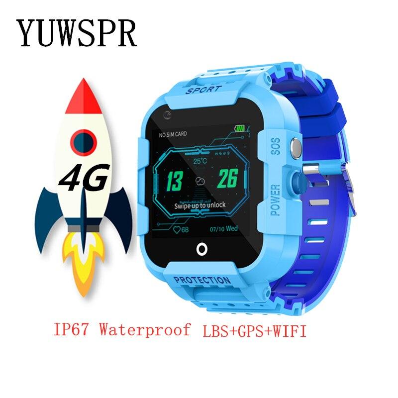 IP67 4G relógio Inteligente relógio crianças rastreador GPS à prova d' água de vídeo chamada de Localização LBS GPS WI-FI Chamada SOS Para Crianças inteligentes dom relógio DF39