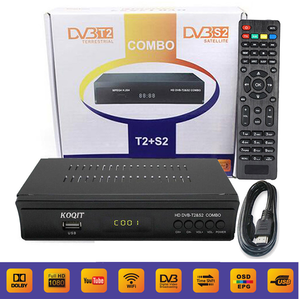 KOQIT FTA Digital Terrestrial Satellite DVB-T2 DVB-S2 Combo Receiver Decoder AC3 TV Tuner IPTV m3u iks Key Cccam Youtube Wifi