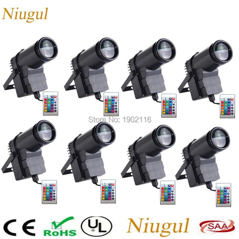 8pcs/lot Wireless Remote control 10W RGB LED Beam Pinspot Light DJ Mirror Ball Lighting For KTV Bar Club Party Disco spot light