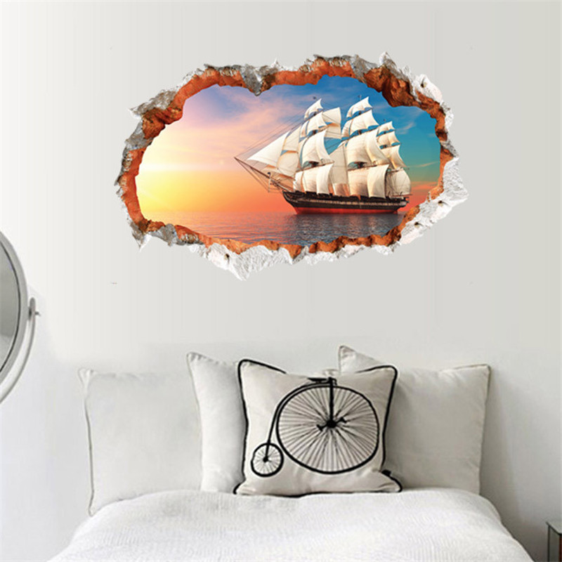 Sea sailboat wallpapers fashion creative 3D stereo <font><b>wall</b></font> <font><b>effect</b></font> <font><b>wall</b></font> <font><b>mural</b></font>