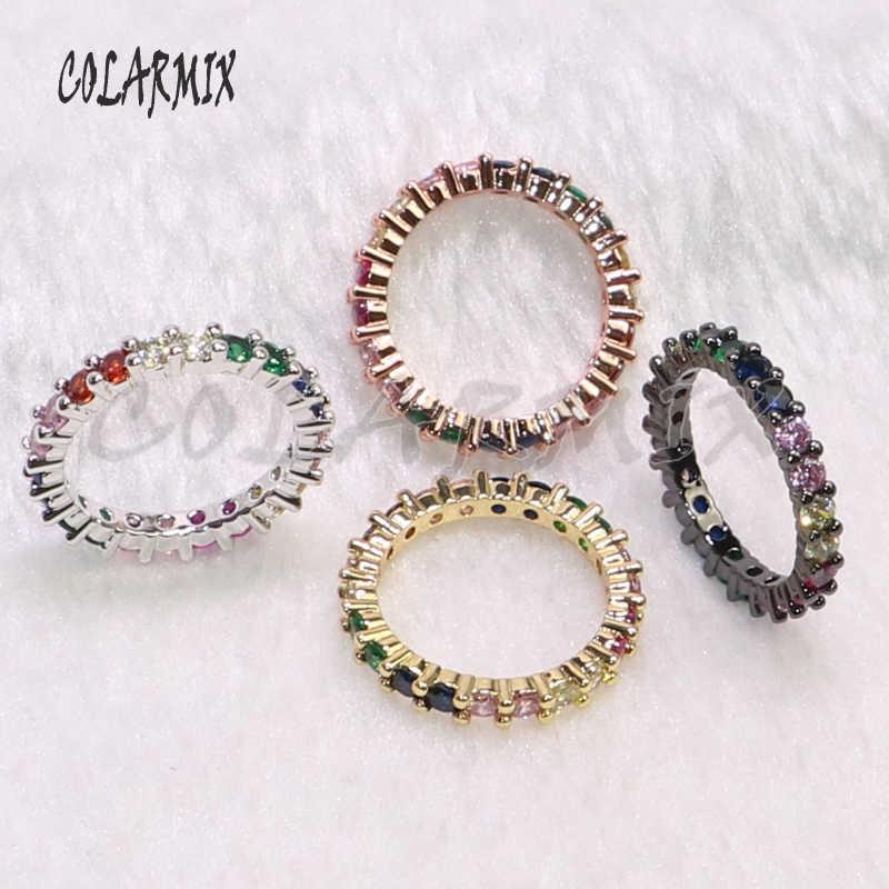 5 шт тонкое кольцо кольца на палец летние ювелирные изделия циркон с радужным блеском ювелирные изделия летние цвета камень кольца для женщин вечерние ювелирные изделия подарок 7151