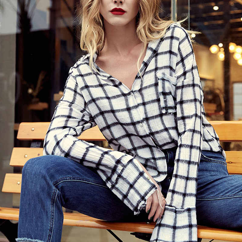 Vrouwen Mode Lange Mouwen Plaid Blouses Casual Revers Zakken Losse Tuniek Tops Dames Elegant Streetwear Shirts Sexy Blusas Mujer