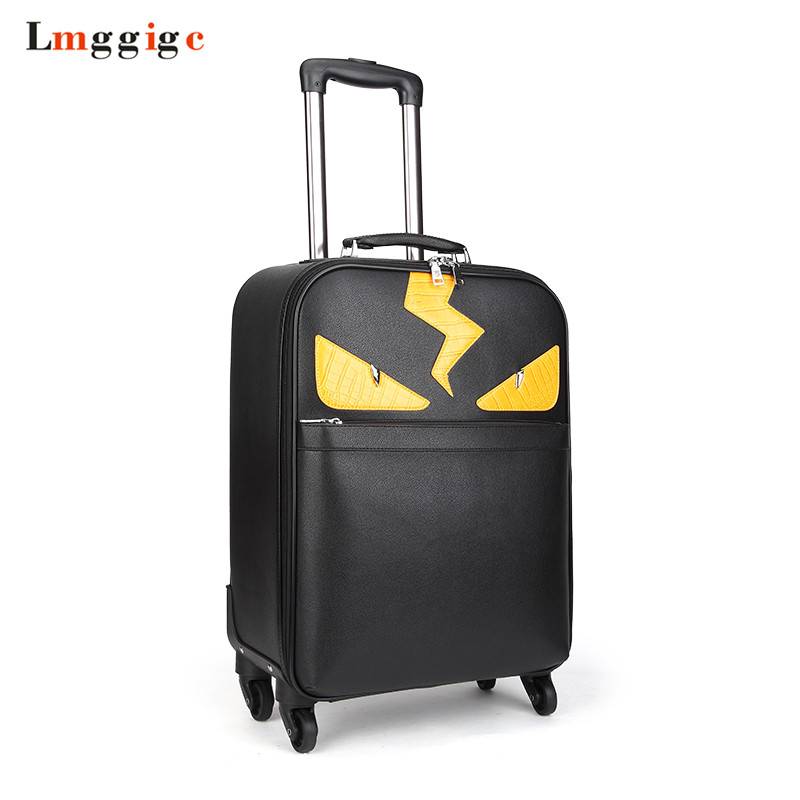 Women Rolling Luggage Suitcase Travel Bag ,Trolley case with Wheel,PU Leather Commercial Soft Shell Box with handbag