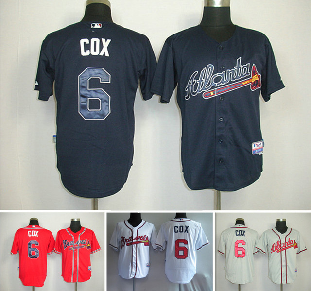4aa90ca74 atlanta braves jersey bobby cox jersey authentic shirt blue red white cream  cool Base,top quality Embroidery Logos