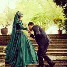 MZY302 Emerald Green Long Sleeve Crystal Beaded Floor Length Hijab Muslim Wedding Dress
