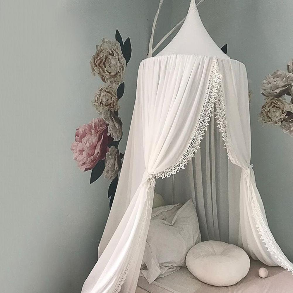 High Quality Nordic Round Mosquito Net Kids Room Decoration Bed Boys Girls Bed Chiffon Mosquito Net Princess Room Decor