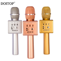 DOITOP Fashion i6 Wireless Karaoke Microphone Bluetooth KTV Magic Voice Change Dual Speaker Mic Metal Microphones For Smartphone