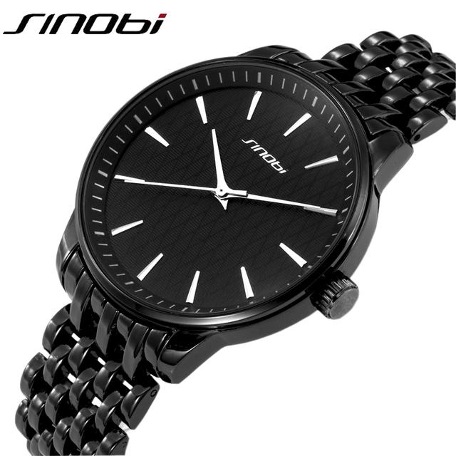 2016 SINOBI Brand Men Quartz Watches Full Black Steel band Business Casual Japan Clock Wristwatches Gold watches Simple Gift
