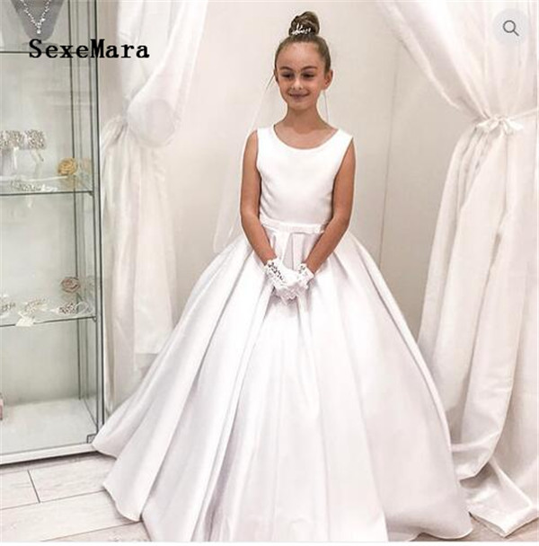 White First Communion Dress for Girls O Neck Satin with Bow Little Princess Dresses for Wedding Ball Gown Christmas Dress white casual round neck ruffled dress