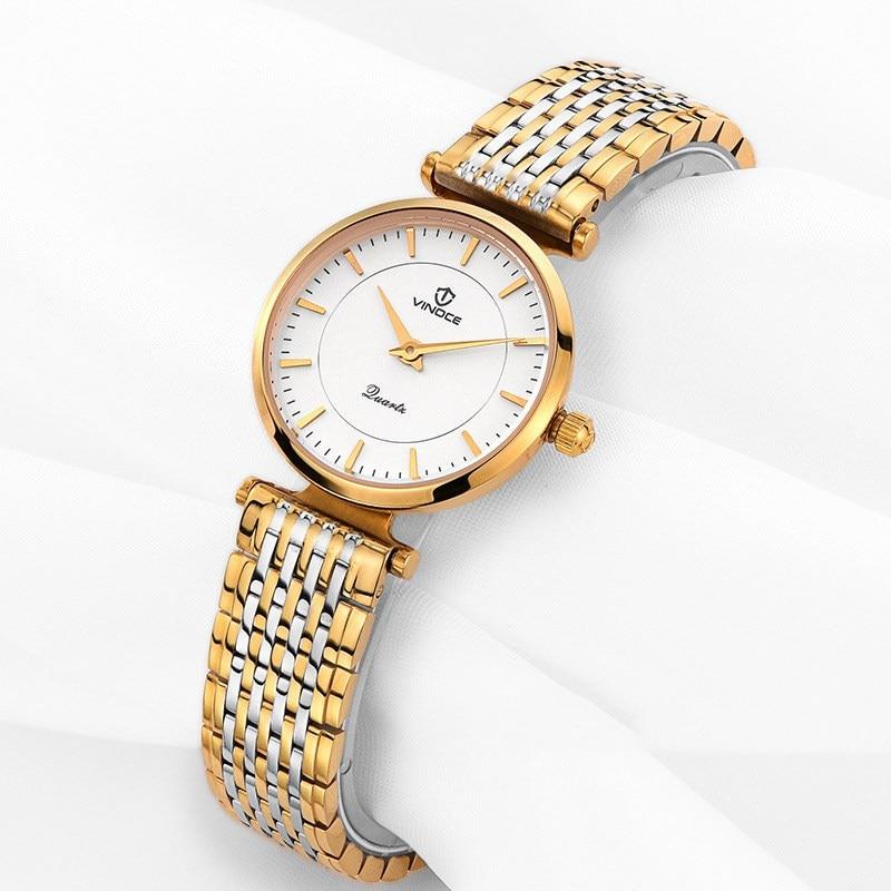 vinoce Gold Watch Women Quartz Watches Ladies Top Brand Luxury Female Wrist Watch Girl Elegant Clock Relogio Feminino diamond ladies watch waterproof cheetah quartz women watch top luxury brand for girl gifts female elegant clock time