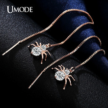 PrePiece Long Spider Shaped Round Cut Clear CZ Brincos Gold Color Dangle Earrings Jewelry for Women Brincos Hot Gift New PUE0175
