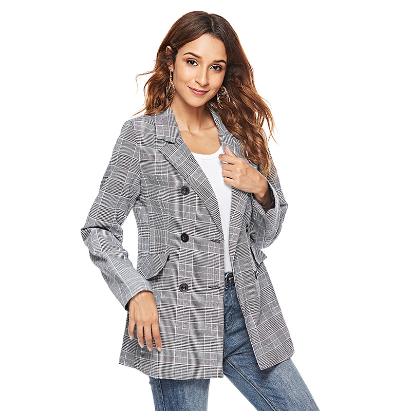 176c865b237 Fashion Plaid blazer coat women autumn winter New 2018 long sleeve casual  jacket office ladies work wear blaSer feminino-in Blazers from Women s  Clothing   ...