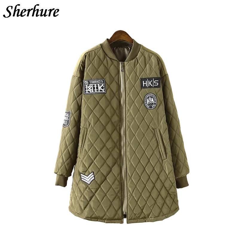 Plus Size Winter Loose Cotton-Padded Jacket Women Black Armygreen Coat Long Sleeve Stand Collar Warm Coat Female Bomber Jacket gkfnmt winter jacket women 2017 fur collar hooded parka coat women cotton padded thicken warm long jacket female plus size 5xl