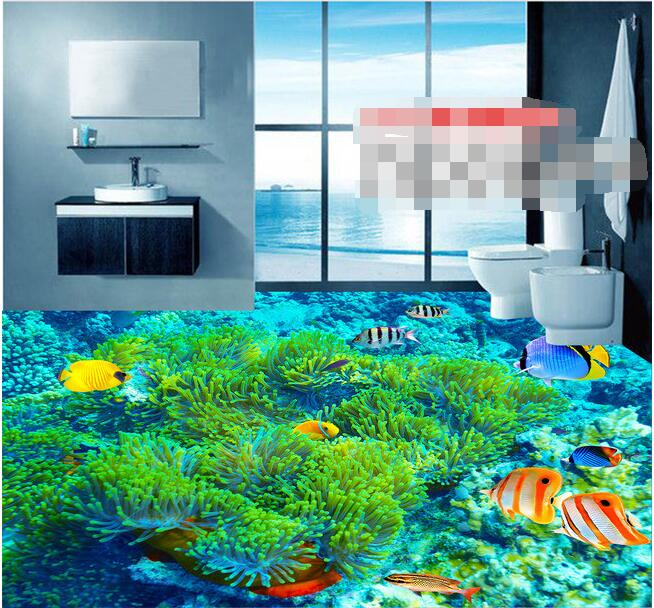 3 D Pvc Flooring Custom 3d Bathroom Flooring Wallpaper The Coral Sea Fish Underwater World 3 D Flooring Painting Mural