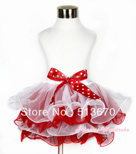 Navidad blanco rojo pétalo de la flor bebé recién nacido Pettiskirt con Minnie Polka Dots Bow MAN168