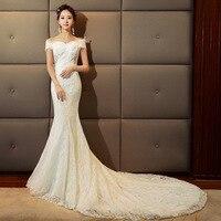 2019 Mermaid Wedding Dress Off Shoulder Sexy Robe De Marriage Long Train Vestidos De Noiva Fotos Reais Lace Bride Gowns