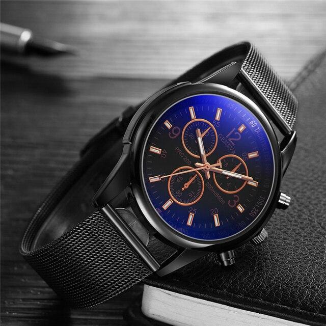 Reloj de marca de lujo para hombre, reloj ultrafino de acero inoxidable, reloj deportivo de cristal azul para hombre meski