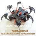 1 Unidades Arduino aluminio de aleación hexápodo araña seis 3DOF piernas Frame Robot Kit Dropshipping Retail + Free