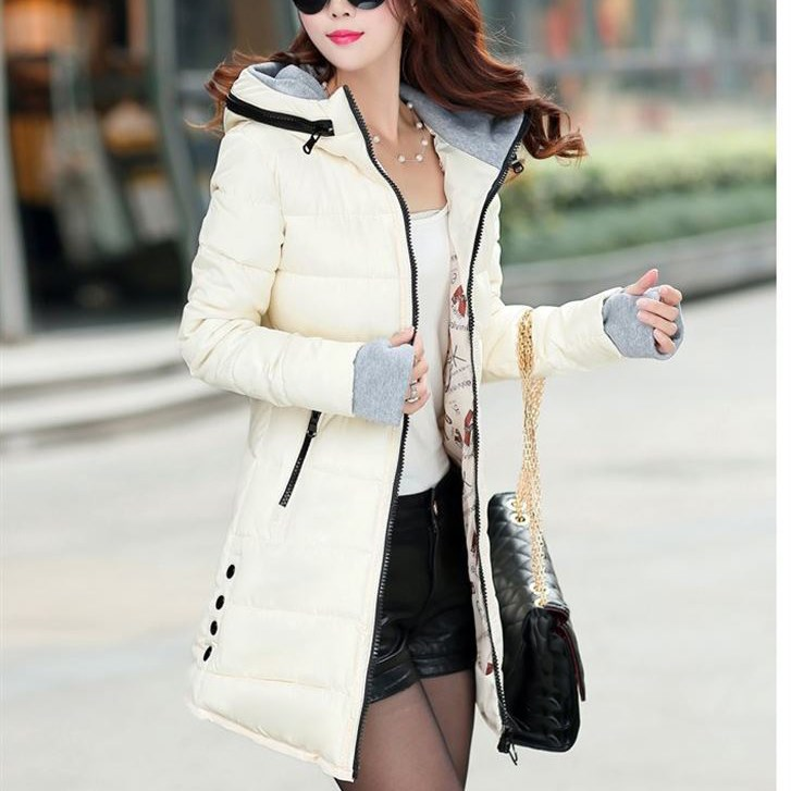 Plus Size 2019 Winter Women Zipper Hooded Coat Slim Candy Color Cotton Padded Long Jacket Casual Long Warm   Parka   Wadded